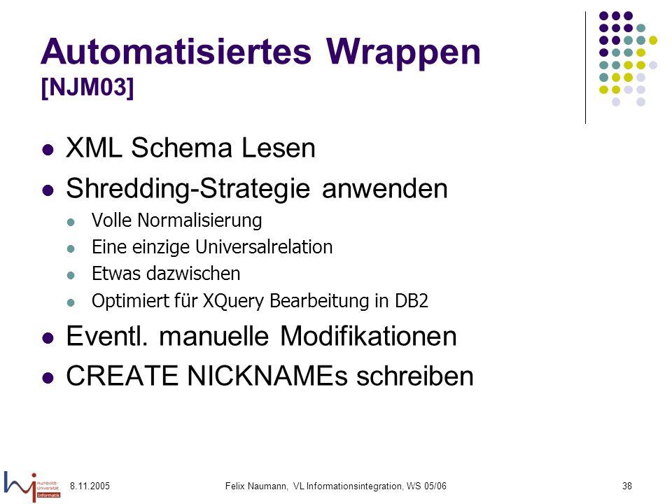 8.11.2005Felix Naumann, VL Informationsintegration, WS 05/0638 Automatisiertes Wrappen [NJM03] XML Schema Lesen Shredding-Strategie anwenden Volle Normalisierung Eine einzige Universalrelation Etwas dazwischen Optimiert für XQuery Bearbeitung in DB2 Eventl.