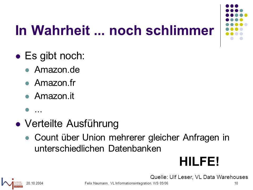 20.10.2004Felix Naumann, VL Informationsintegration, WS 05/0610 In Wahrheit... noch schlimmer Es gibt noch: Amazon.de Amazon.fr Amazon.it... Verteilte