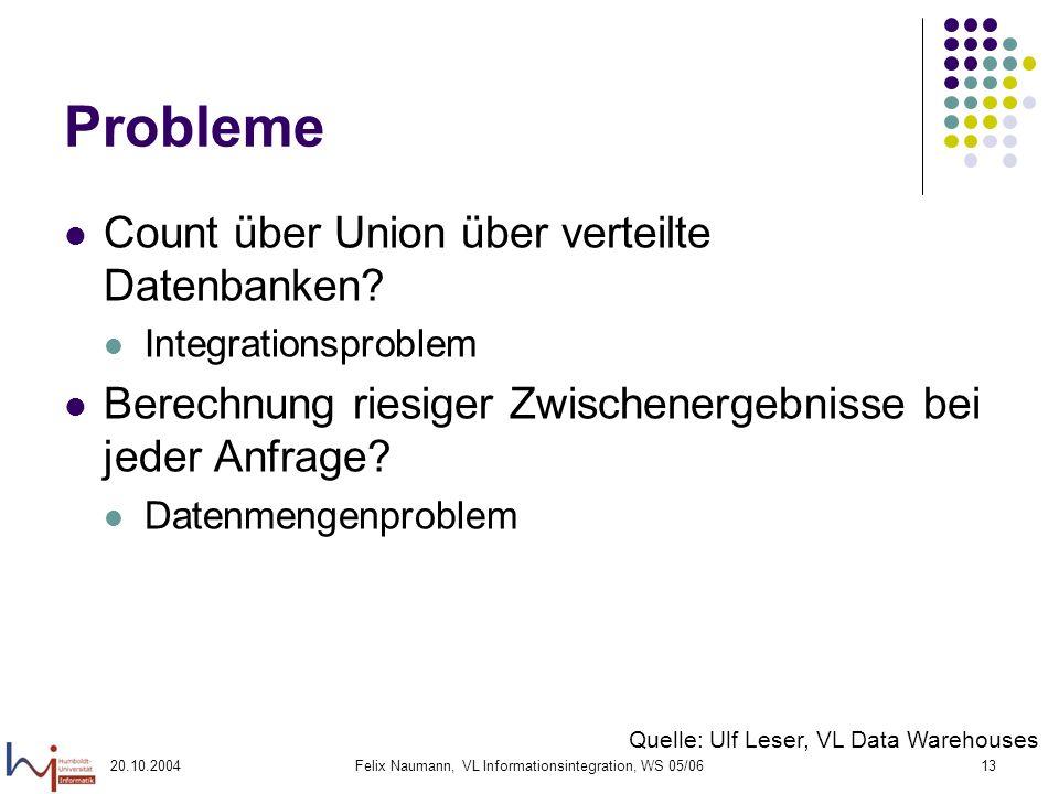 20.10.2004Felix Naumann, VL Informationsintegration, WS 05/0613 Probleme Count über Union über verteilte Datenbanken? Integrationsproblem Berechnung r
