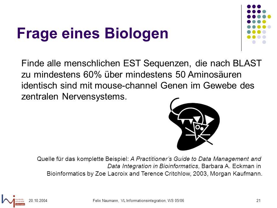 20.10.2004Felix Naumann, VL Informationsintegration, WS 05/0621 Frage eines Biologen Finde alle menschlichen EST Sequenzen, die nach BLAST zu mindeste
