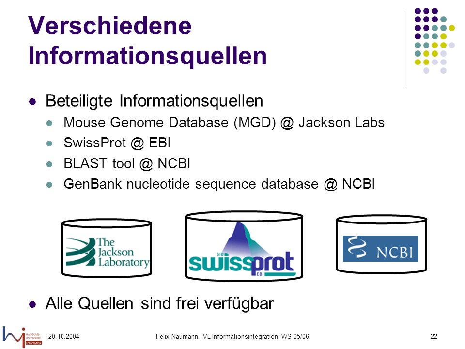 20.10.2004Felix Naumann, VL Informationsintegration, WS 05/0622 Verschiedene Informationsquellen Beteiligte Informationsquellen Mouse Genome Database