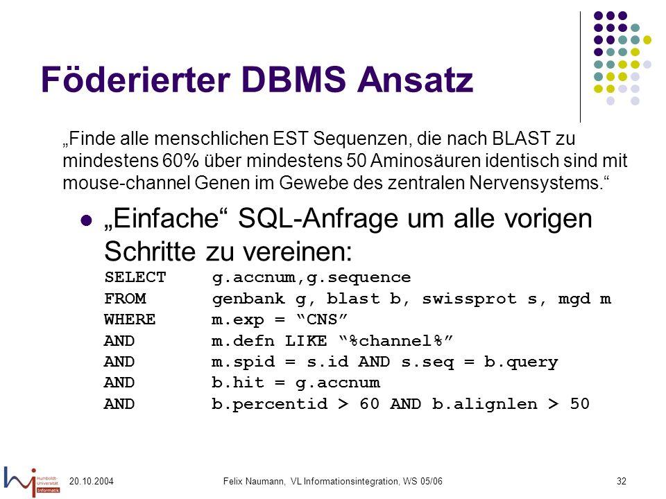 20.10.2004Felix Naumann, VL Informationsintegration, WS 05/0632 Föderierter DBMS Ansatz Einfache SQL-Anfrage um alle vorigen Schritte zu vereinen: SEL