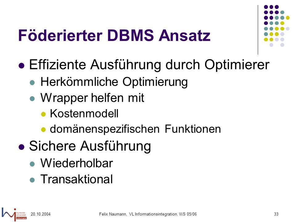 20.10.2004Felix Naumann, VL Informationsintegration, WS 05/0633 Föderierter DBMS Ansatz Effiziente Ausführung durch Optimierer Herkömmliche Optimierun