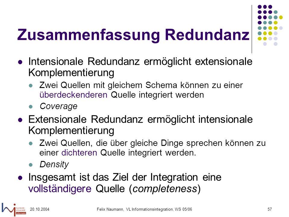 20.10.2004Felix Naumann, VL Informationsintegration, WS 05/0657 Zusammenfassung Redundanz Intensionale Redundanz ermöglicht extensionale Komplementier