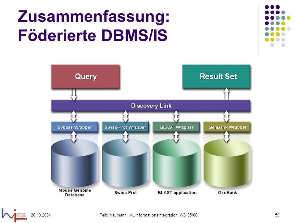 20.10.2004Felix Naumann, VL Informationsintegration, WS 05/0659 Zusammenfassung: Föderierte DBMS/IS
