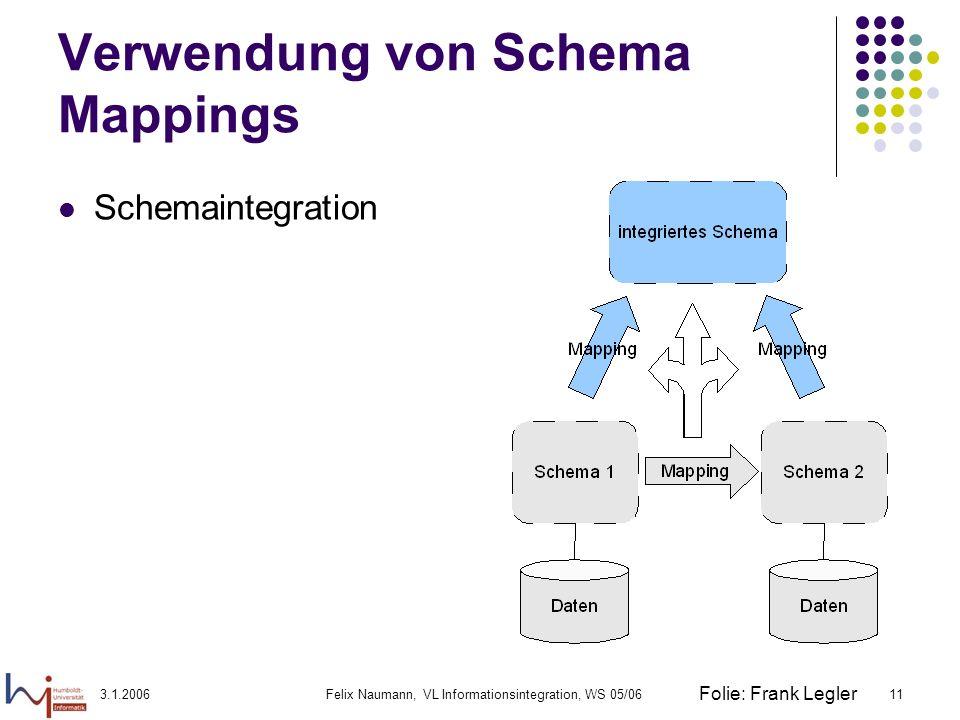 3.1.2006Felix Naumann, VL Informationsintegration, WS 05/0611 Verwendung von Schema Mappings Schemaintegration Folie: Frank Legler