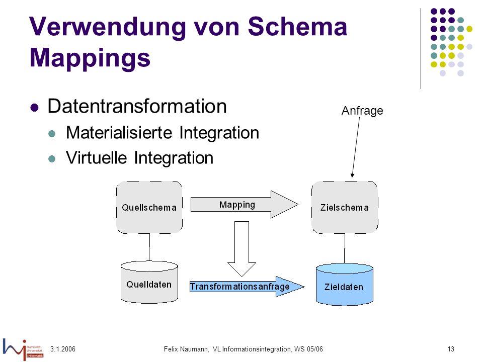 3.1.2006Felix Naumann, VL Informationsintegration, WS 05/0613 Verwendung von Schema Mappings Datentransformation Materialisierte Integration Virtuelle