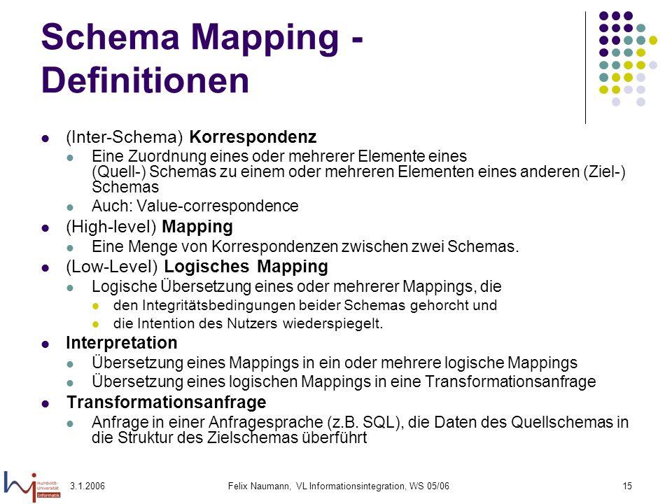 3.1.2006Felix Naumann, VL Informationsintegration, WS 05/0615 Schema Mapping - Definitionen (Inter-Schema) Korrespondenz Eine Zuordnung eines oder meh