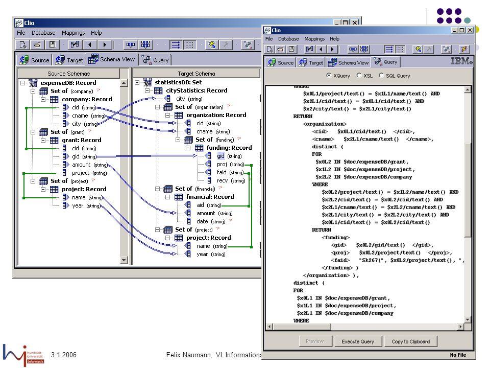 3.1.2006Felix Naumann, VL Informationsintegration, WS 05/0630