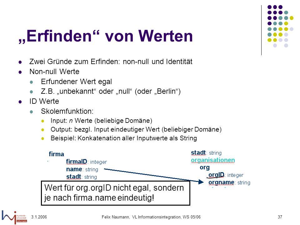 3.1.2006Felix Naumann, VL Informationsintegration, WS 05/0637 Erfinden von Werten Zwei Gründe zum Erfinden: non-null und Identität Non-null Werte Erfu