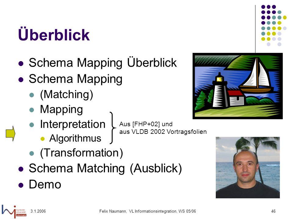 3.1.2006Felix Naumann, VL Informationsintegration, WS 05/0646 Überblick Schema Mapping Überblick Schema Mapping (Matching) Mapping Interpretation Algo