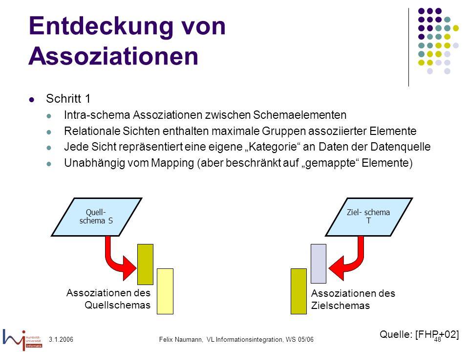 3.1.2006Felix Naumann, VL Informationsintegration, WS 05/0648 Entdeckung von Assoziationen Schritt 1 Intra-schema Assoziationen zwischen Schemaelement