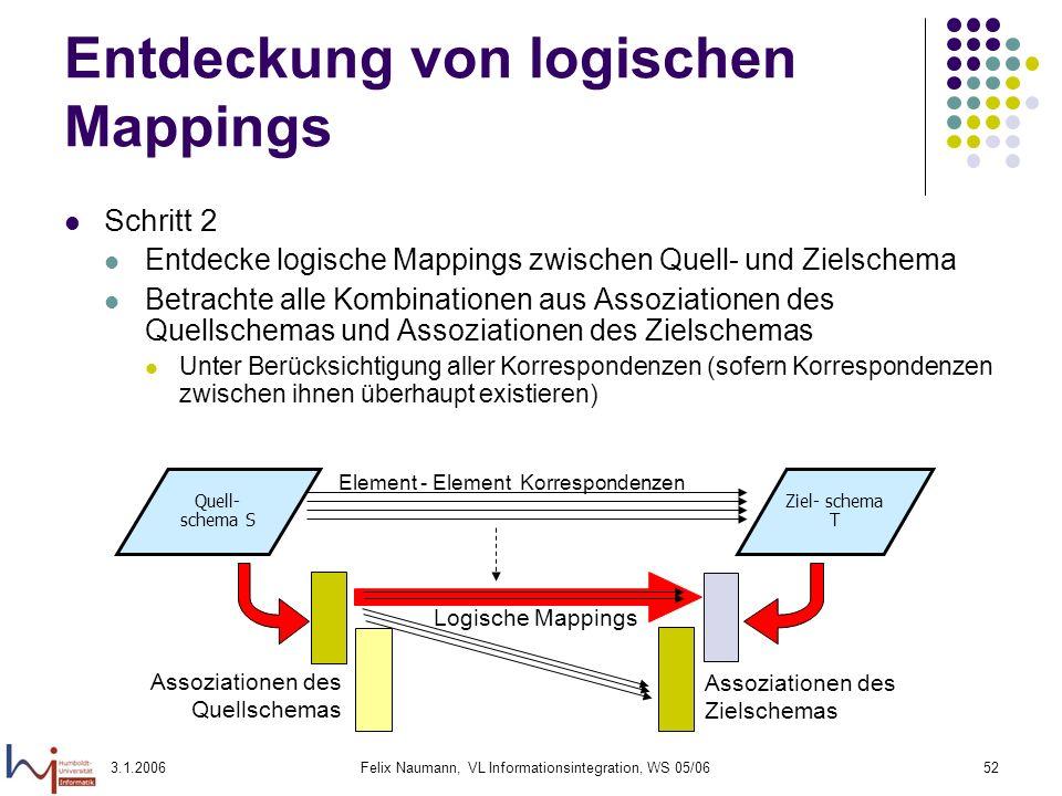 3.1.2006Felix Naumann, VL Informationsintegration, WS 05/0652 Entdeckung von logischen Mappings Schritt 2 Entdecke logische Mappings zwischen Quell- u