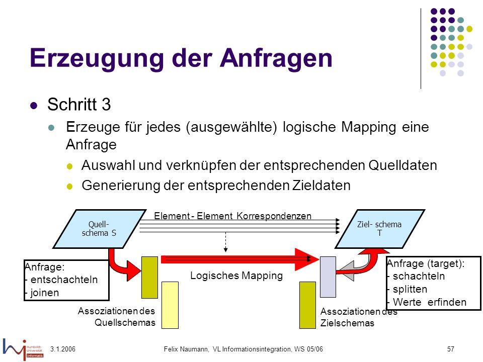 3.1.2006Felix Naumann, VL Informationsintegration, WS 05/0657 Erzeugung der Anfragen Schritt 3 Erzeuge für jedes (ausgewählte) logische Mapping eine A
