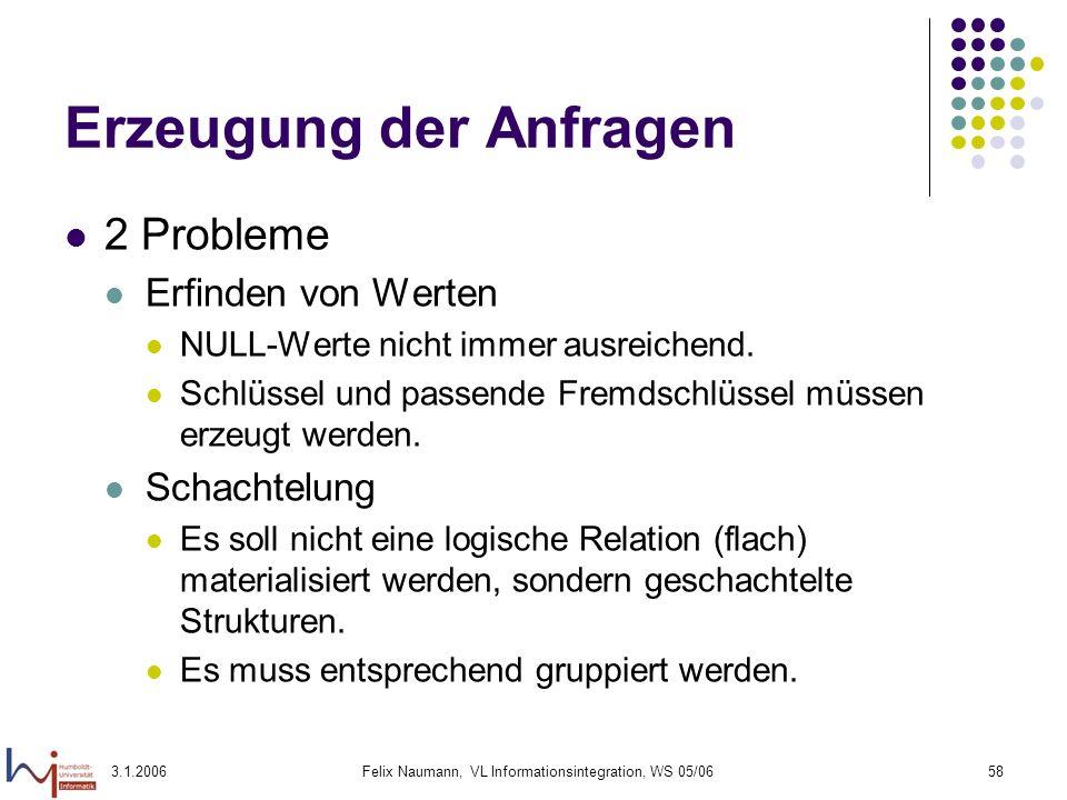 3.1.2006Felix Naumann, VL Informationsintegration, WS 05/0658 Erzeugung der Anfragen 2 Probleme Erfinden von Werten NULL-Werte nicht immer ausreichend