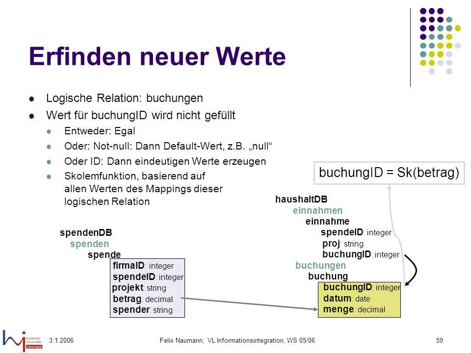 3.1.2006Felix Naumann, VL Informationsintegration, WS 05/0659 Erfinden neuer Werte Logische Relation: buchungen Wert für buchungID wird nicht gefüllt
