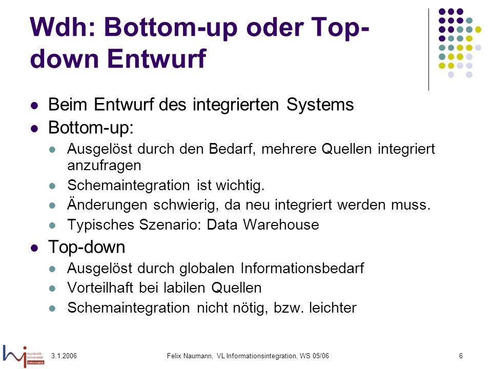 3.1.2006Felix Naumann, VL Informationsintegration, WS 05/066 Wdh: Bottom-up oder Top- down Entwurf Beim Entwurf des integrierten Systems Bottom-up: Au