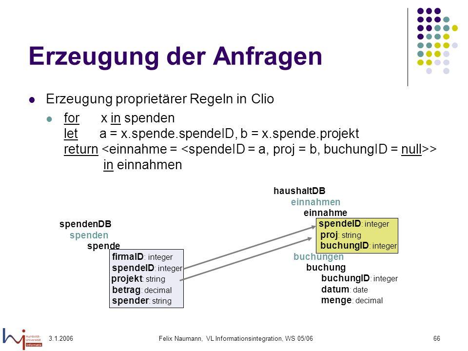 3.1.2006Felix Naumann, VL Informationsintegration, WS 05/0666 Erzeugung der Anfragen Erzeugung proprietärer Regeln in Clio for x in spenden let a = x.