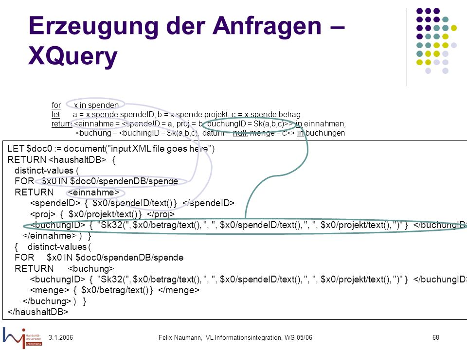 3.1.2006Felix Naumann, VL Informationsintegration, WS 05/0669 Erzeugung der Anfragen – SQL for x in spenden let a = x.spende.spendeID, b = x.spende.projekt, c = x.spende.betrag return > in einnahmen, > in buchungen -- CREATE VIEW einnahme AS SELECT x0.spendeID AS spendeID, x0.projekt AS proj, RTRIM( Sk32(` CHAR(x0.betrag) || , || (CHAR(x0.spendeID) || , || CHAR(x0.projekt) || ) ) AS buchungID FROM spendenDB.spende x0 ----------------------------------------------------- -- CREATE VIEW buchung AS SELECT RTRIM( Sk32( || CHAR(x0.betrag) || , || CHAR(x0.spendeID) || , || CHAR(x0.projekt) || ) ) AS buchungID, x0.betrag AS menge FROM spendenDB.spende x0