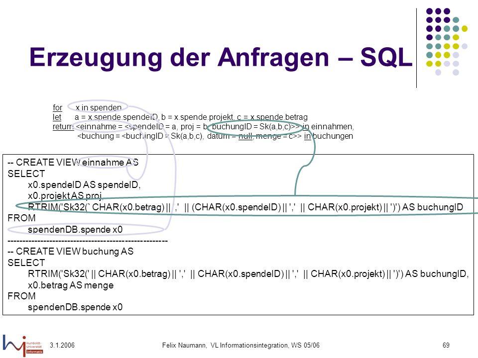 3.1.2006Felix Naumann, VL Informationsintegration, WS 05/0669 Erzeugung der Anfragen – SQL for x in spenden let a = x.spende.spendeID, b = x.spende.pr