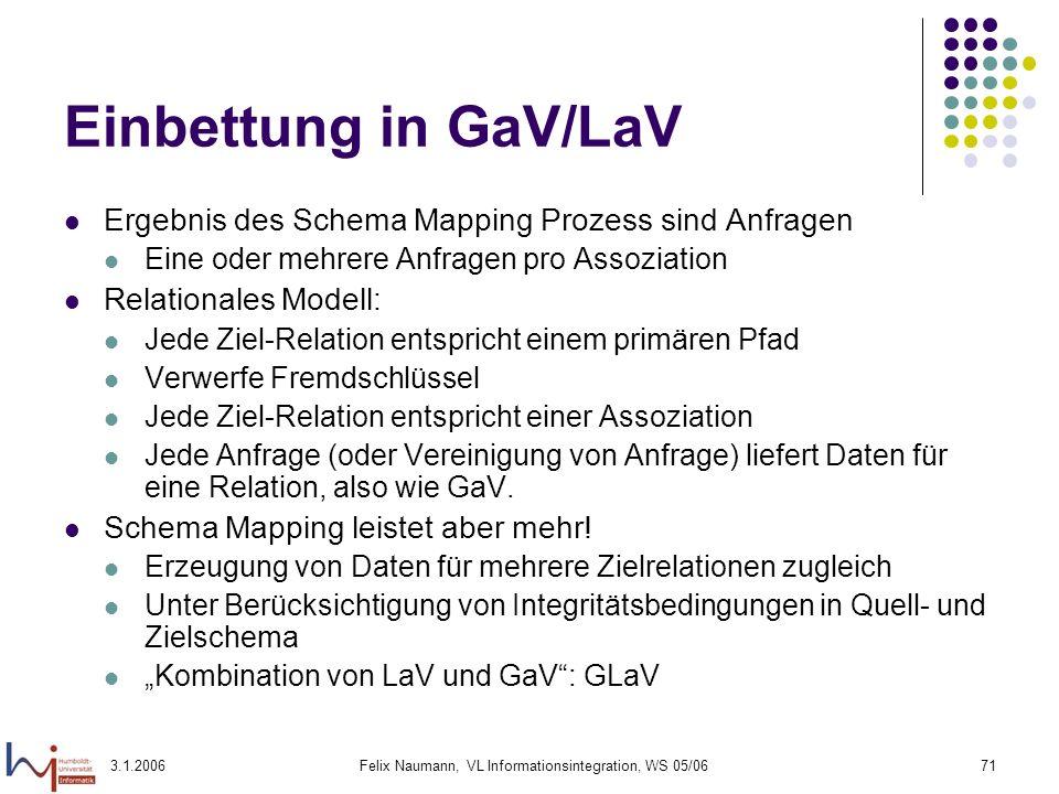 3.1.2006Felix Naumann, VL Informationsintegration, WS 05/0671 Einbettung in GaV/LaV Ergebnis des Schema Mapping Prozess sind Anfragen Eine oder mehrer