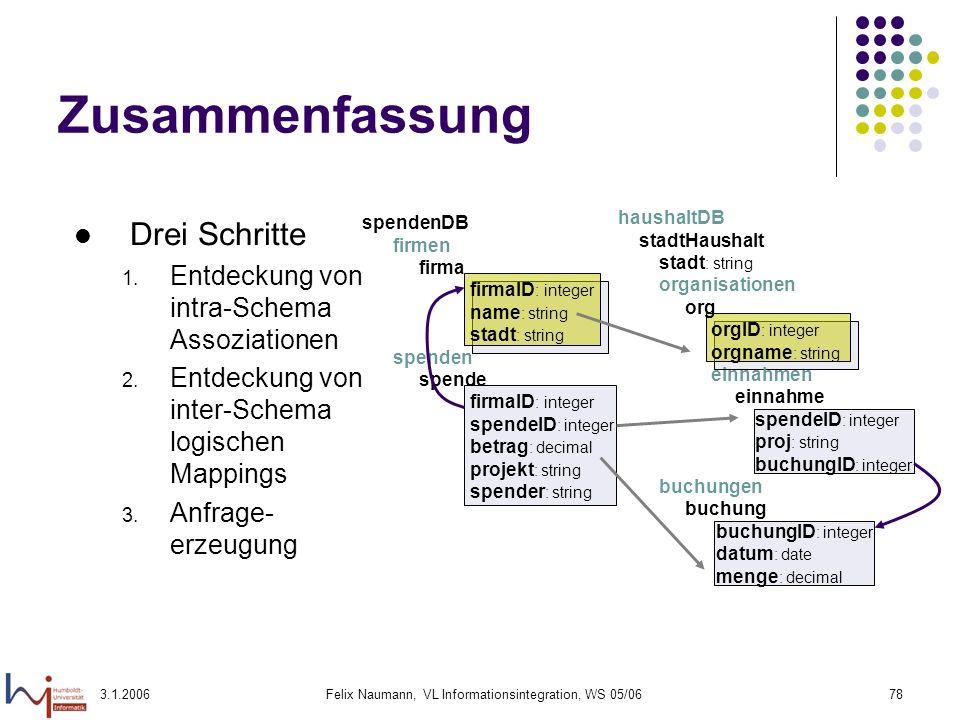 3.1.2006Felix Naumann, VL Informationsintegration, WS 05/0678 Zusammenfassung Drei Schritte 1. Entdeckung von intra-Schema Assoziationen 2. Entdeckung