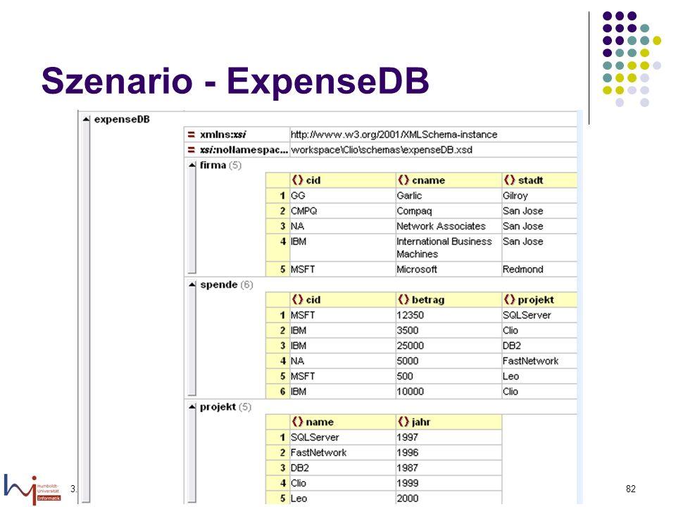 3.1.2006Felix Naumann, VL Informationsintegration, WS 05/0682 Szenario - ExpenseDB