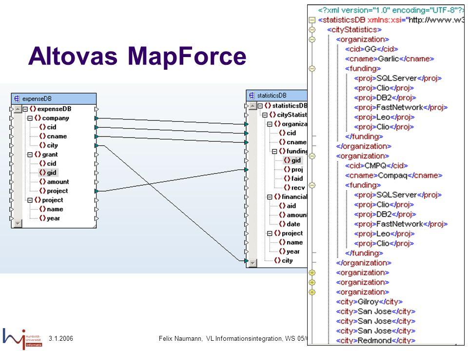 3.1.2006Felix Naumann, VL Informationsintegration, WS 05/0684 Altovas MapForce