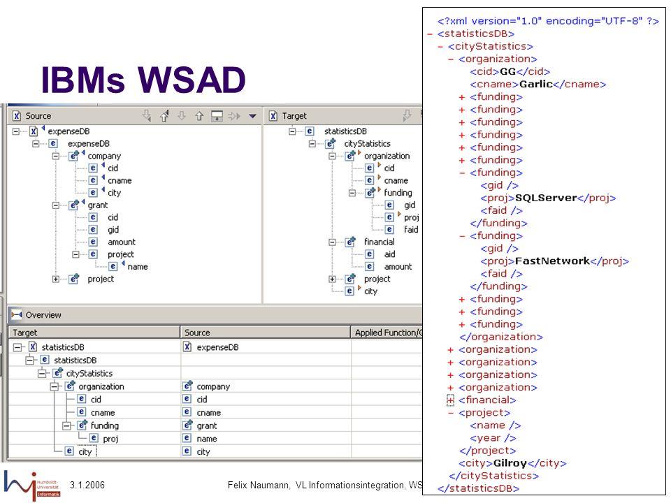 3.1.2006Felix Naumann, VL Informationsintegration, WS 05/0690 IBMs WSAD