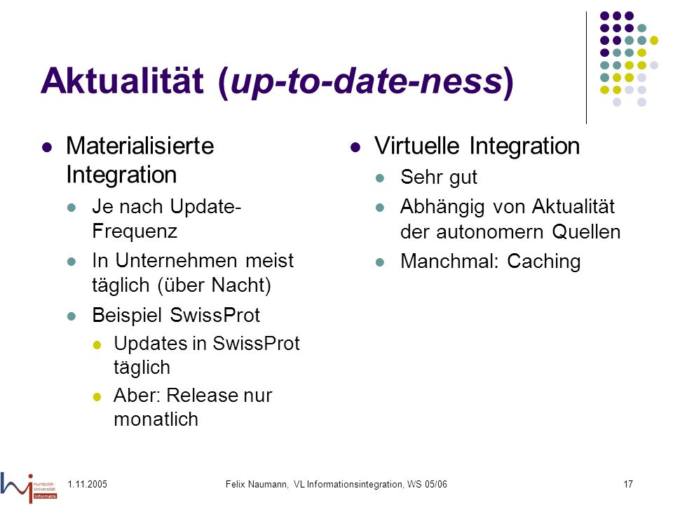 1.11.2005Felix Naumann, VL Informationsintegration, WS 05/0617 Aktualität (up-to-date-ness) Materialisierte Integration Je nach Update- Frequenz In Un