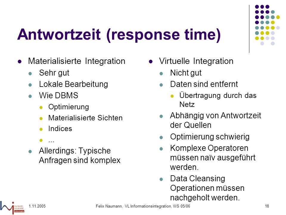 1.11.2005Felix Naumann, VL Informationsintegration, WS 05/0618 Antwortzeit (response time) Materialisierte Integration Sehr gut Lokale Bearbeitung Wie