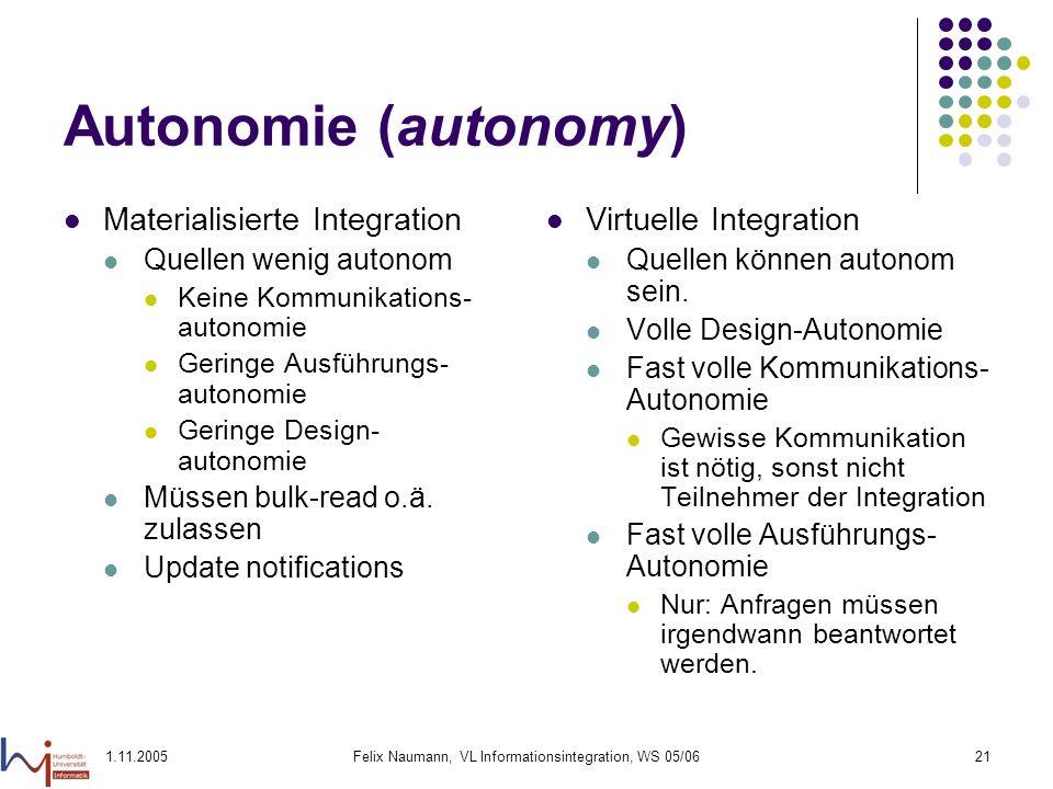 1.11.2005Felix Naumann, VL Informationsintegration, WS 05/0621 Autonomie (autonomy) Materialisierte Integration Quellen wenig autonom Keine Kommunikat