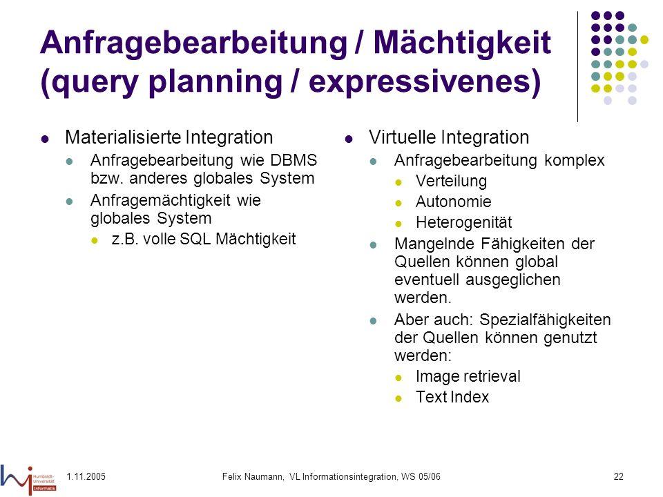 1.11.2005Felix Naumann, VL Informationsintegration, WS 05/0622 Anfragebearbeitung / Mächtigkeit (query planning / expressivenes) Materialisierte Integ