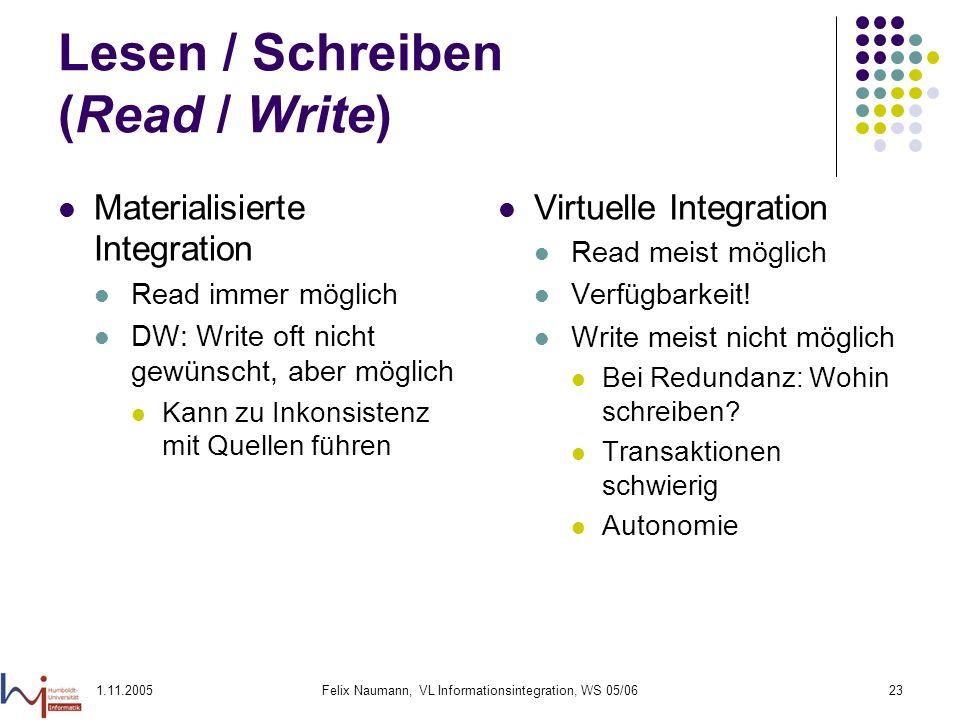 1.11.2005Felix Naumann, VL Informationsintegration, WS 05/0623 Lesen / Schreiben (Read / Write) Materialisierte Integration Read immer möglich DW: Wri
