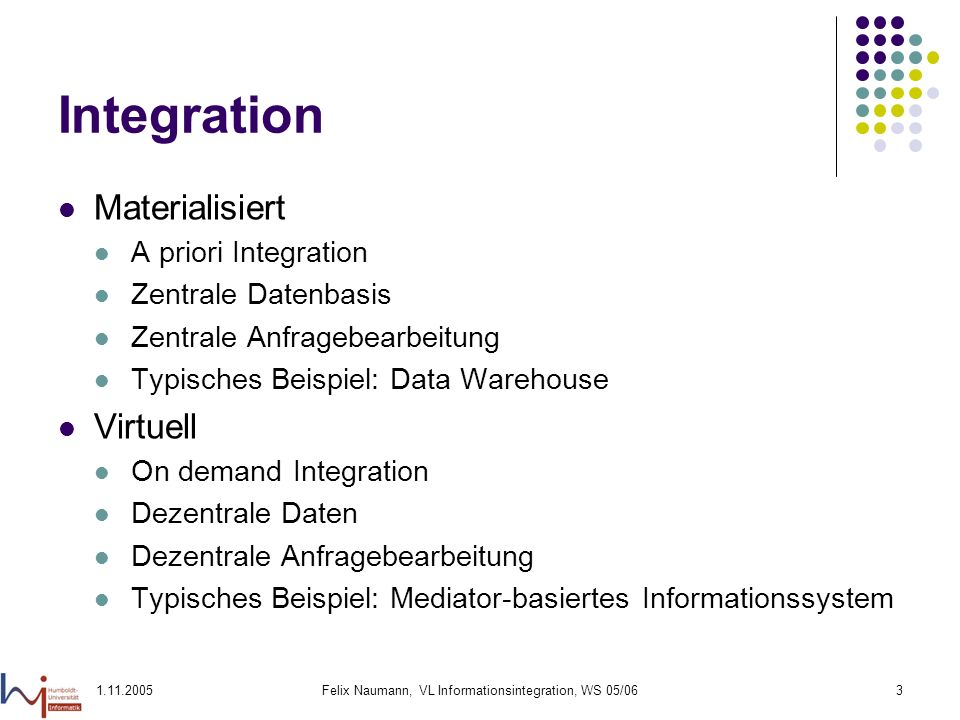 1.11.2005Felix Naumann, VL Informationsintegration, WS 05/063 Integration Materialisiert A priori Integration Zentrale Datenbasis Zentrale Anfragebearbeitung Typisches Beispiel: Data Warehouse Virtuell On demand Integration Dezentrale Daten Dezentrale Anfragebearbeitung Typisches Beispiel: Mediator-basiertes Informationssystem
