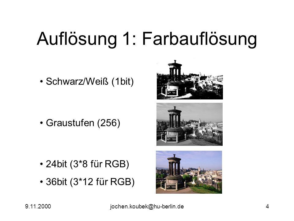 9.11.2000jochen.koubek@hu-berlin.de4 Auflösung 1: Farbauflösung Schwarz/Weiß (1bit) Graustufen (256) 24bit (3*8 für RGB) 36bit (3*12 für RGB)