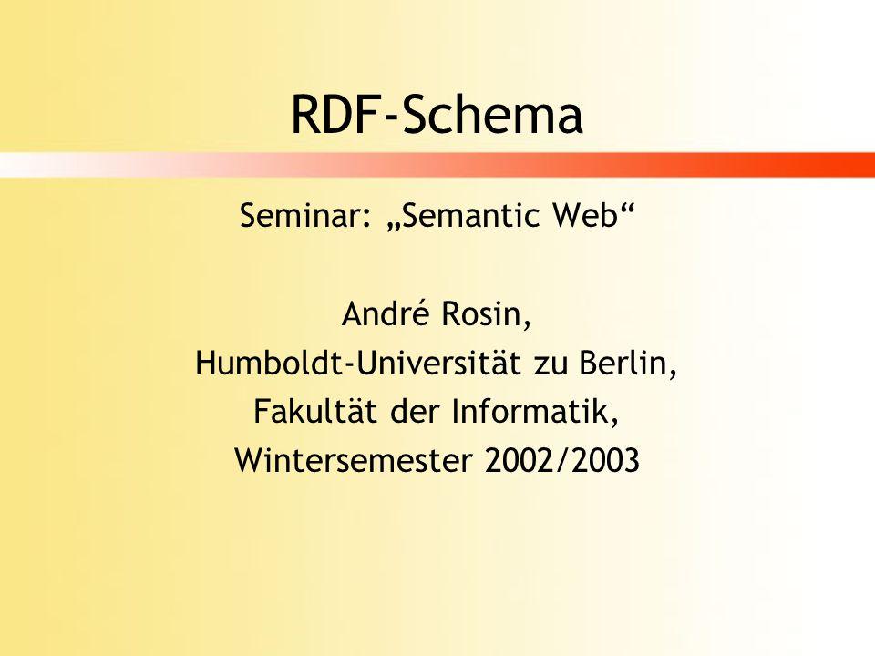 Beispiel (aus Spezifikation) <rdfs:isDefinedBy rdf:resource= http://www.w3.org/ 2000/01/rdf-schema# /> <rdfs:range rdf:resource= http:// www.w3.org/1999/02/22-rdf-syntax- ns#Property /> <rdfs:domain rdf:resource= http:// www.w3.org/1999/02/22-rdf-syntax- ns#Property />