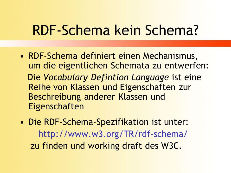 RDF-Schema Spezifikation Ein Schema legt für jede Eigenschaft fest: welche Werte erlaubt sind welche Ressource sie besitzen darf welche Beziehung sie zu anderen Eigenschaften hat RDF-Schema definiert die Semantik von Aussagen mittels RDF-Syntax