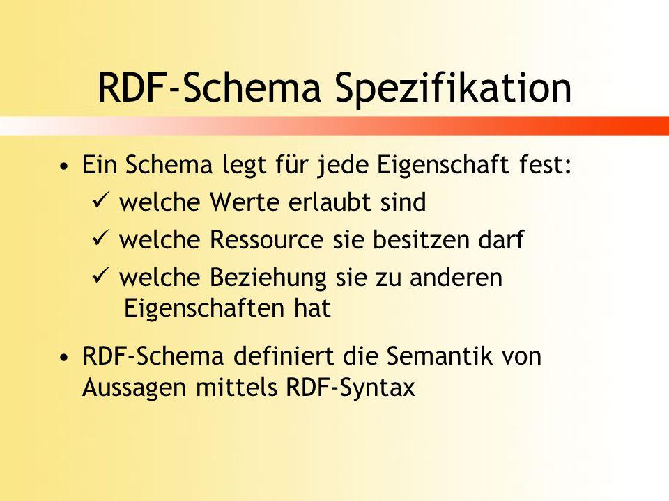 Ausblick (cont.) Nachteile von RDF-Schema: Keine strikte Trennung der Abstraktionsschichten Problematische Rekursion zwischen rdfs:Class und rdfs:Resource Keine logischen Operatoren möglich RDF-Schema wird unübersichtlich -> Verwendung konkurrierender Metamodelle wie UML oder Topic Maps sollte in Betracht gezogen werden