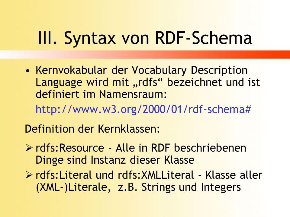 Kernklassen rdfs:Class - Konzept der Klassen, jede Klasse hat rdf:type Eigenschaft mit dem Wert rdfs:Class, Unterklasse von rdfs:Resource, Anwendung mit: … rdfs:DataType - Klasse aller Ressourcen, die RDF-Datentypen sind