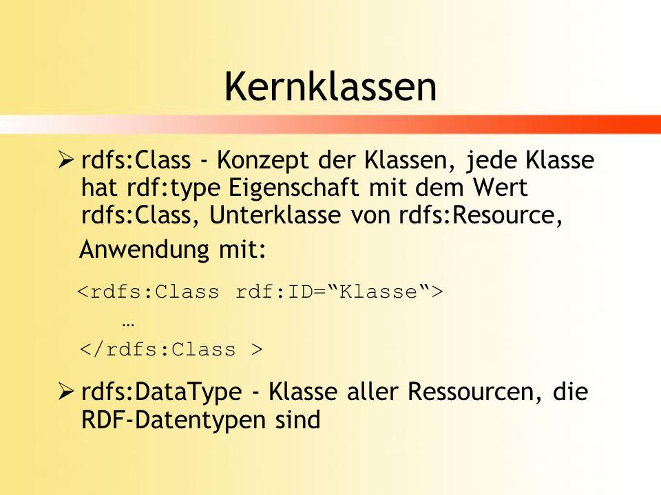Kernklassen (cont.) rdfs:Property - Konzept der Eigenschaften analog zu rdfs:Class, Anwendung mit: … rdf:type - Eigenschaft besagt, dass Ressource Instanz einer Klasse ist, Anwendung mit: <rdf:type resource=http://www.w3.org/ … 2000/01/rdf-schema#Class/>