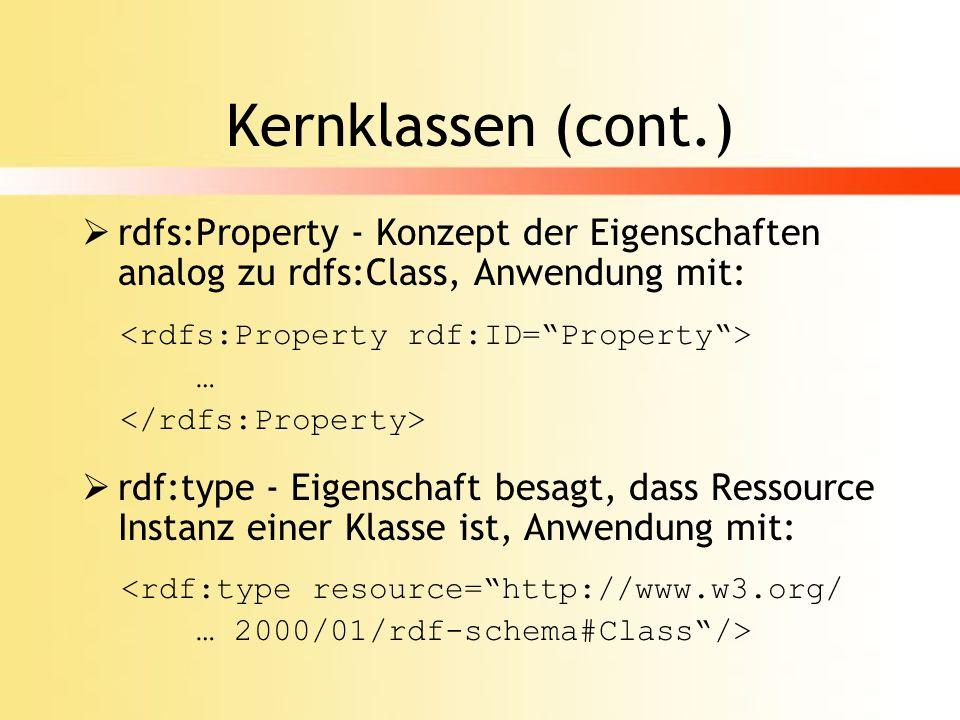 Kernproperties rdfs:subClassOf - Unterklassenrelation ermöglicht Vererbungsmechanismus und Modularisierung von Schemata, Anwendung: <rdfs:subClassOf rdf:resource=#Basisklasse/> rdfs:subPropertyOf - Spezialisierung von Eigenschaften analog zu rdfs:subClassOf <rdfs:subPropertyOf rdf:resource=#Basisproperty/>