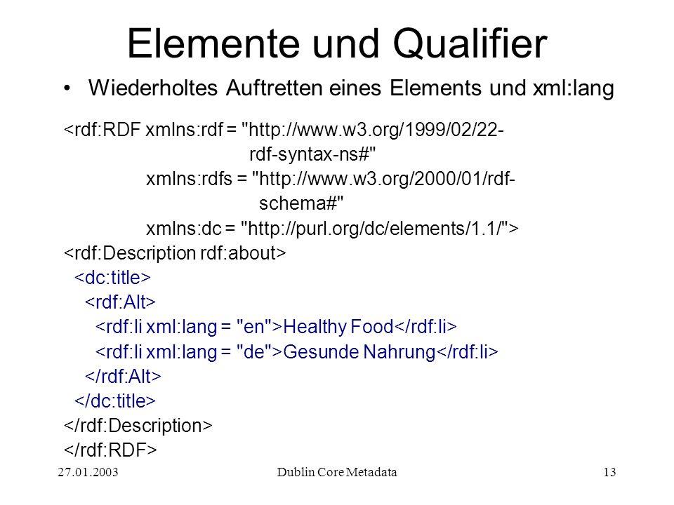 27.01.2003Dublin Core Metadata13 Elemente und Qualifier Wiederholtes Auftretten eines Elements und xml:lang <rdf:RDF xmlns:rdf = http://www.w3.org/1999/02/22- rdf-syntax-ns# xmlns:rdfs = http://www.w3.org/2000/01/rdf- schema# xmlns:dc = http://purl.org/dc/elements/1.1/ > Healthy Food Gesunde Nahrung