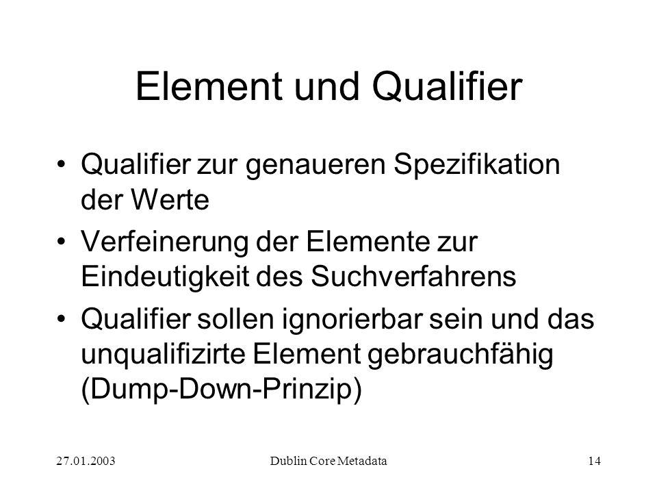 27.01.2003Dublin Core Metadata14 Element und Qualifier Qualifier zur genaueren Spezifikation der Werte Verfeinerung der Elemente zur Eindeutigkeit des Suchverfahrens Qualifier sollen ignorierbar sein und das unqualifizirte Element gebrauchfähig (Dump-Down-Prinzip)