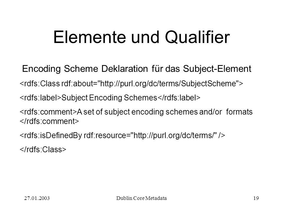 27.01.2003Dublin Core Metadata19 Elemente und Qualifier Encoding Scheme Deklaration für das Subject-Element Subject Encoding Schemes A set of subject
