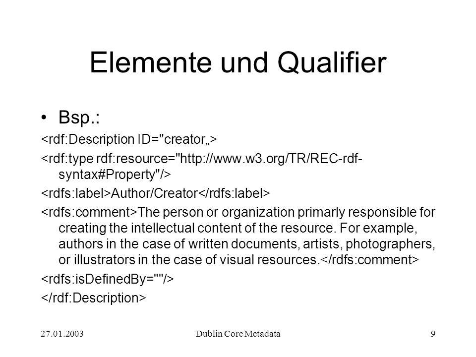 27.01.2003Dublin Core Metadata10 Elemente und Qualifier