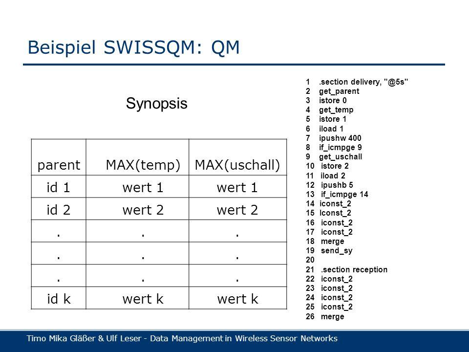 Timo Mika Gläßer & Ulf Leser - Data Management in Wireless Sensor Networks Beispiel SWISSQM: QM parentMAX(temp)MAX(uschall) id 1wert 1 id 2wert 2.........