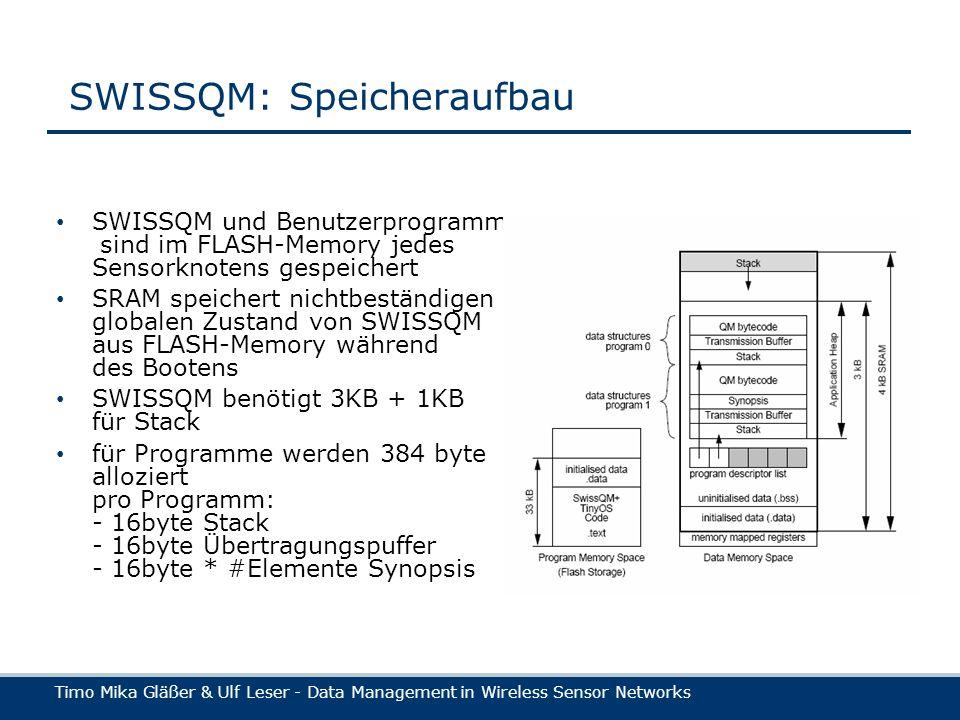 Timo Mika Gläßer & Ulf Leser - Data Management in Wireless Sensor Networks SWISSQM: Speicheraufbau SWISSQM und Benutzerprogramme sind im FLASH-Memory jedes Sensorknotens gespeichert SRAM speichert nichtbeständigen globalen Zustand von SWISSQM aus FLASH-Memory während des Bootens SWISSQM benötigt 3KB + 1KB für Stack für Programme werden 384 byte alloziert pro Programm: - 16byte Stack - 16byte Übertragungspuffer - 16byte * #Elemente Synopsis
