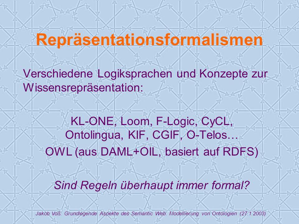 Jakob Voß: Grundlegende Aspekte des Semantic Web: Modellierung von Ontologien (27.1.2003) Repräsentationsformalismen Verschiedene Logiksprachen und Konzepte zur Wissensrepräsentation: KL-ONE, Loom, F-Logic, CyCL, Ontolingua, KIF, CGIF, O-Telos… OWL (aus DAML+OIL, basiert auf RDFS) Sind Regeln überhaupt immer formal