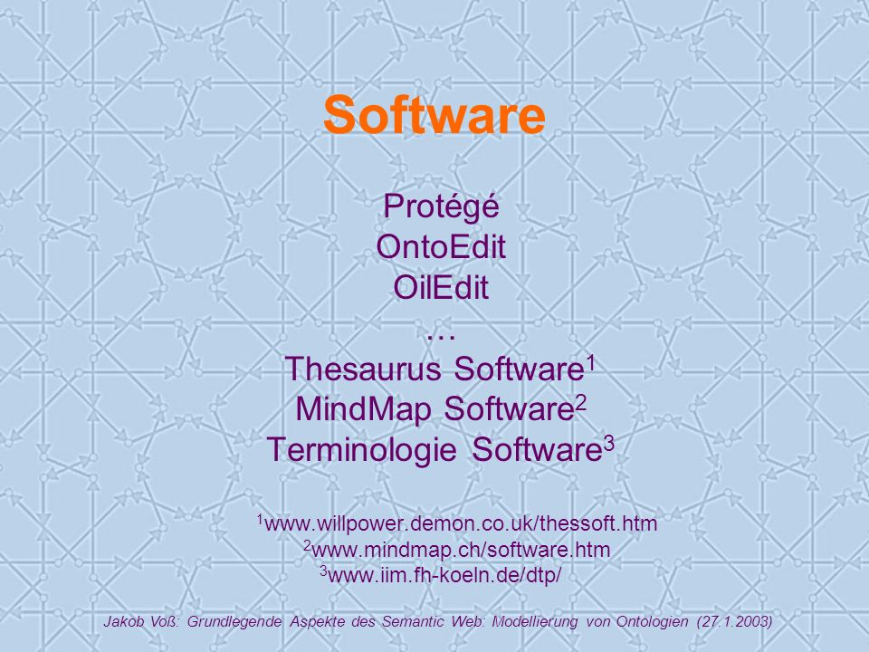Jakob Voß: Grundlegende Aspekte des Semantic Web: Modellierung von Ontologien (27.1.2003) Software Protégé OntoEdit OilEdit … Thesaurus Software 1 MindMap Software 2 Terminologie Software 3 1 www.willpower.demon.co.uk/thessoft.htm 2 www.mindmap.ch/software.htm 3 www.iim.fh-koeln.de/dtp/